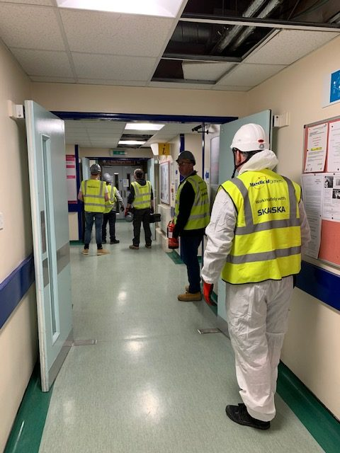 Epsom Hospital workers on site